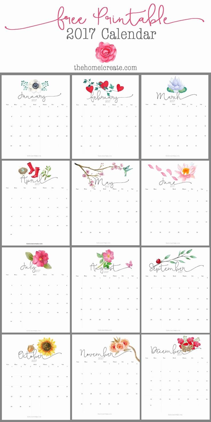 Monthly Calendar 2017 Printable Free Elegant Best 25 2017 Calendar Printable Ideas On Pinterest