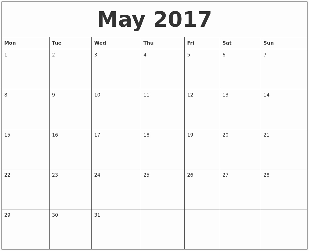 Monthly Calendar 2017 Printable Free Fresh May 2017 Free Printable Monthly Calendar