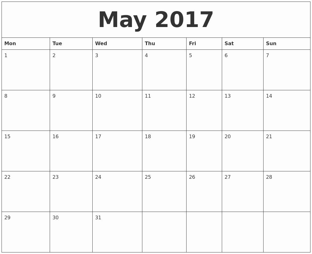 Monthly Calendar 2017 Printable Free Fresh May 2017 Free Printable Monthly Calendar