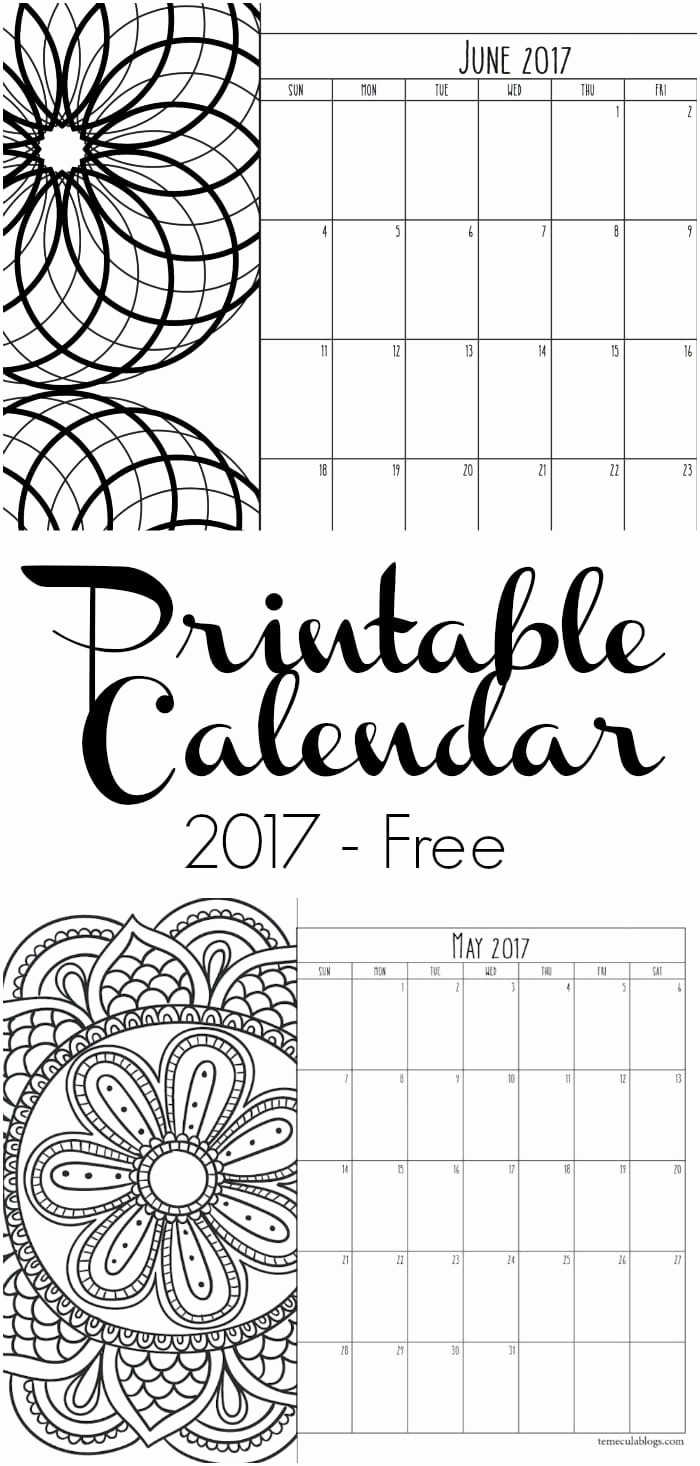 Monthly Calendar 2017 Printable Free Fresh Printable Calendar Pages · the Typical Mom