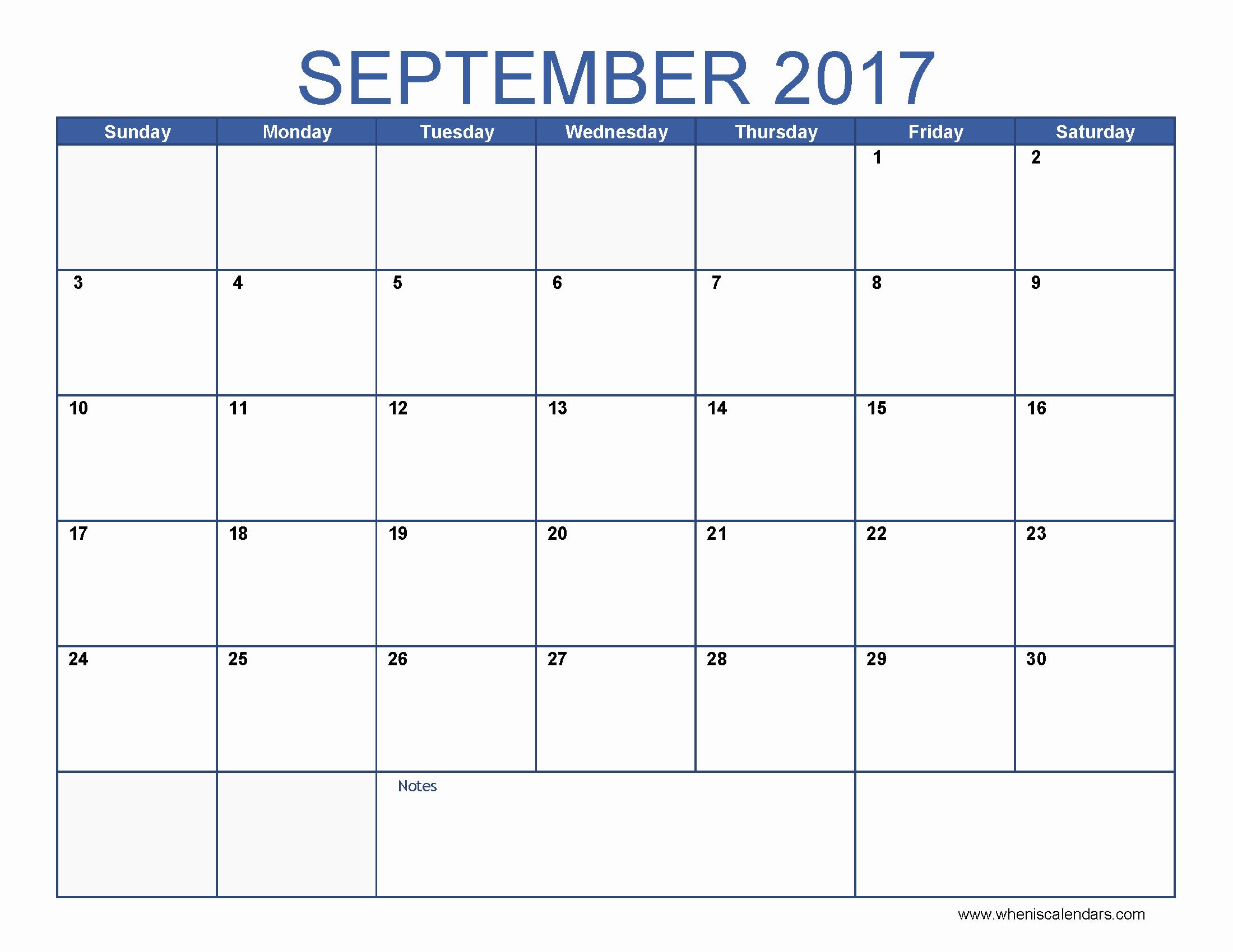 Monthly Calendar 2017 Printable Free Fresh September 2017 Calendar Template
