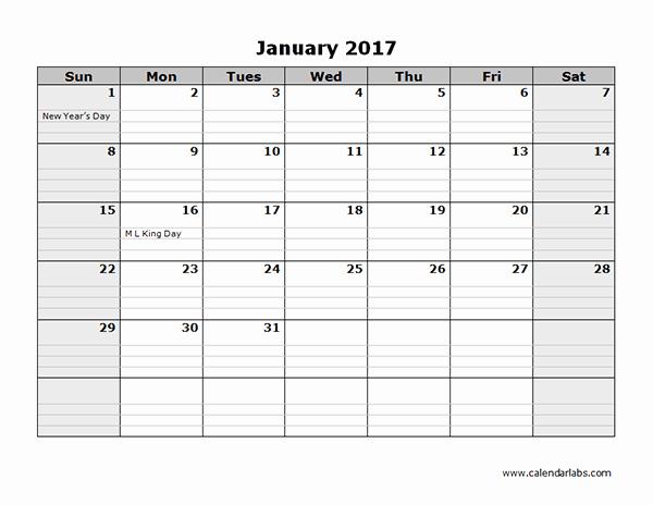 Monthly Calendar 2017 Printable Free Inspirational 2017 Monthly Calendar Template 08 Free Printable Templates