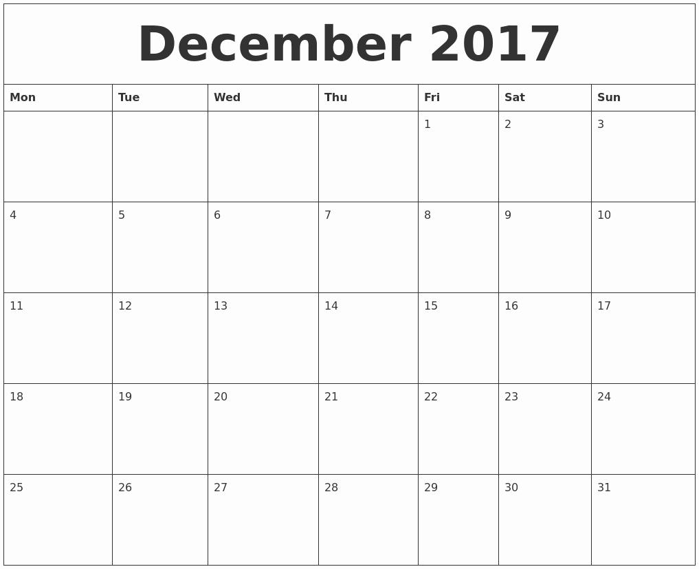 Monthly Calendar 2017 Printable Free Inspirational December 2017 Free Printable Monthly Calendar