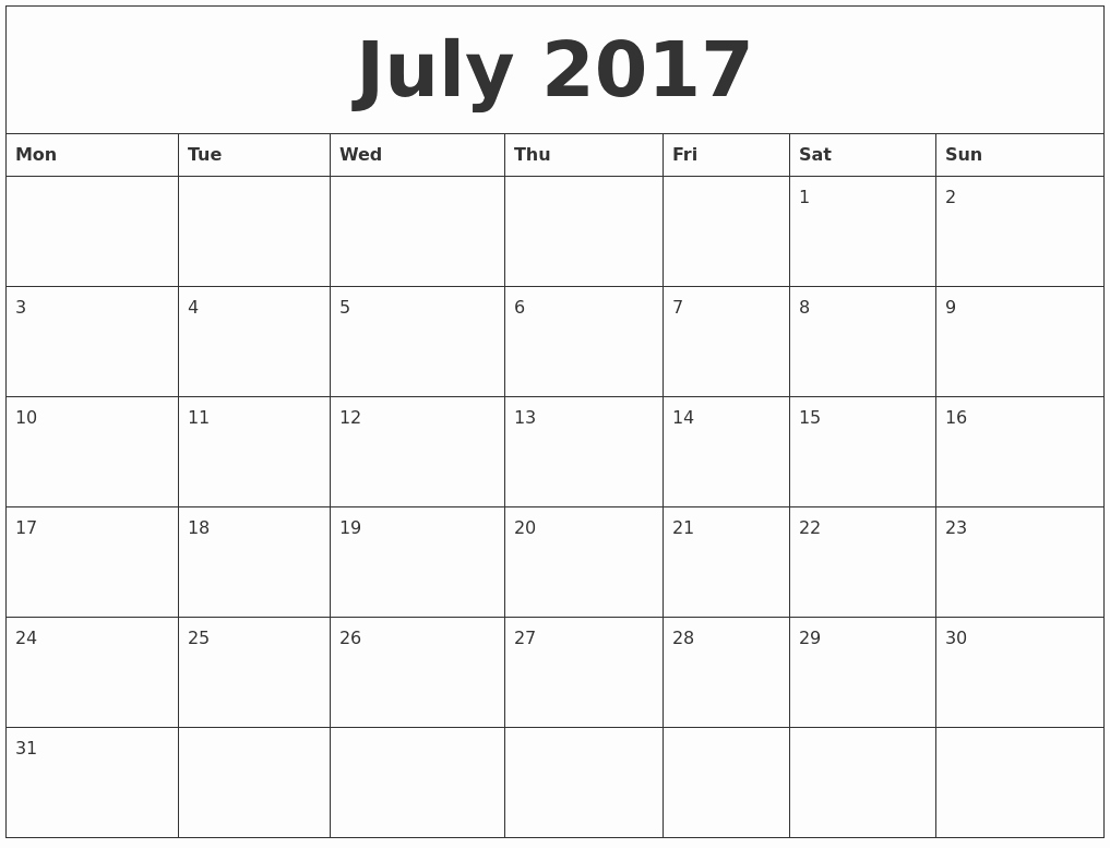 Monthly Calendar 2017 Printable Free Lovely July 2017 Free Printable Monthly Calendar