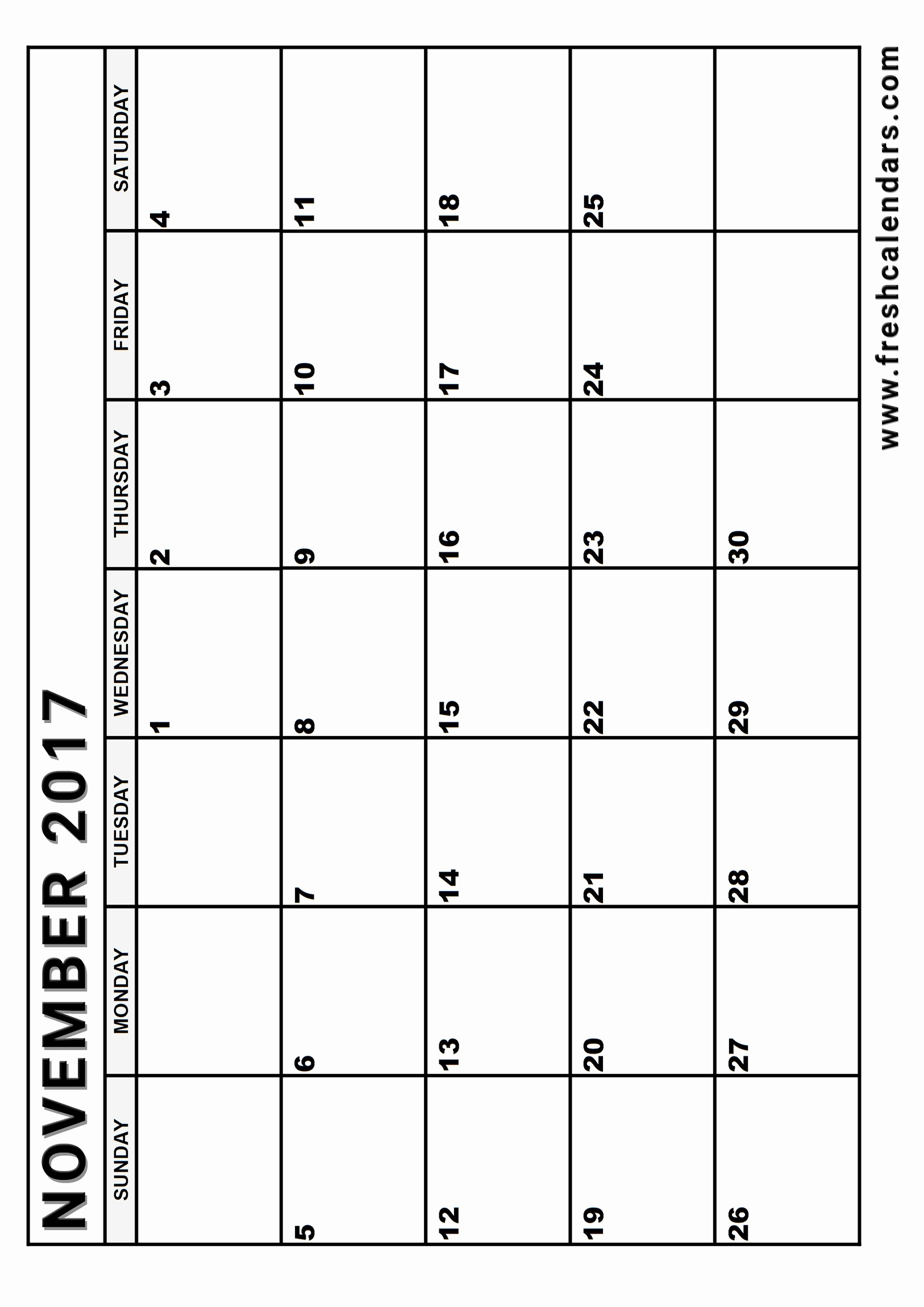 Monthly Calendar 2017 Printable Free Luxury Blank November 2017 Calendar Printable Templates