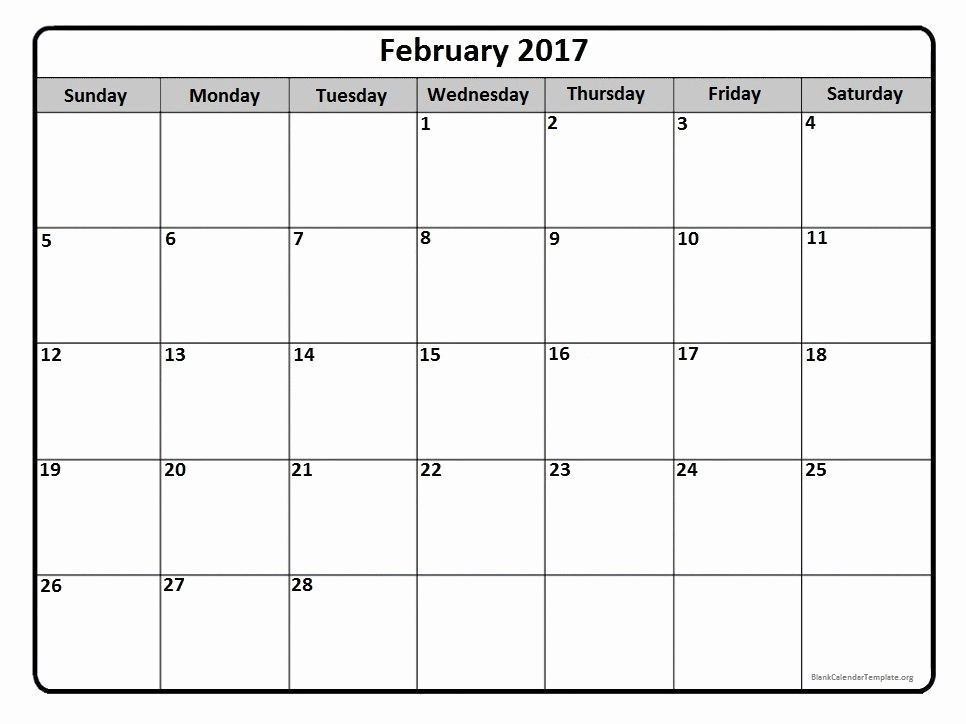 Monthly Calendar 2017 Printable Free Luxury February 2017 Monthly Calendar Printable