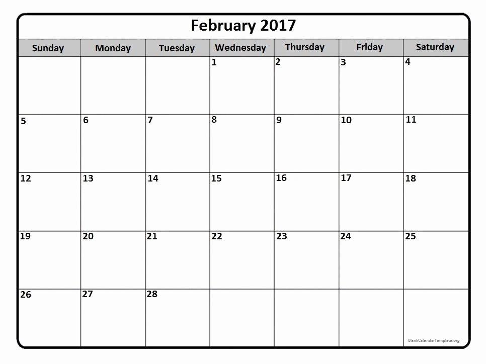 Monthly Calendar 2017 Printable Free Luxury February 2017 Monthly Calendar Printable