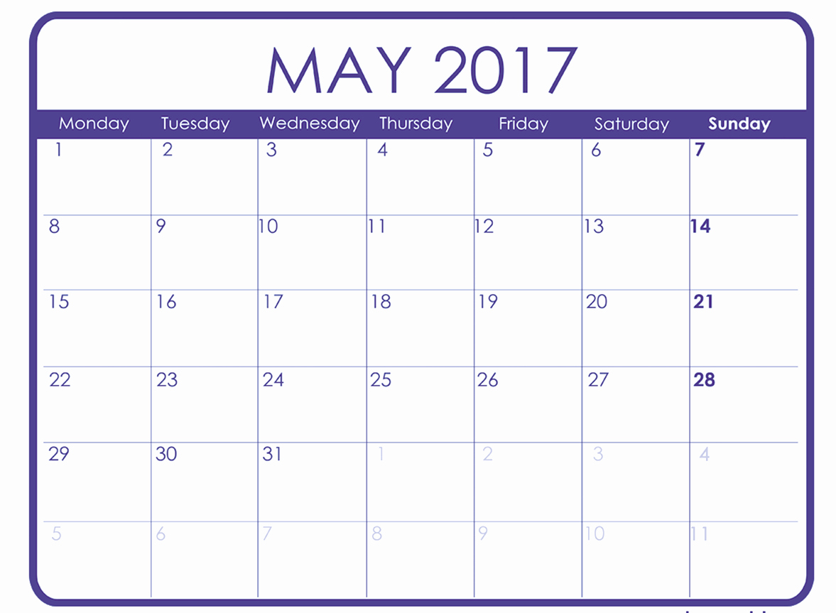Monthly Calendar 2017 Printable Free New Monthly Calendar Template 2017 Word