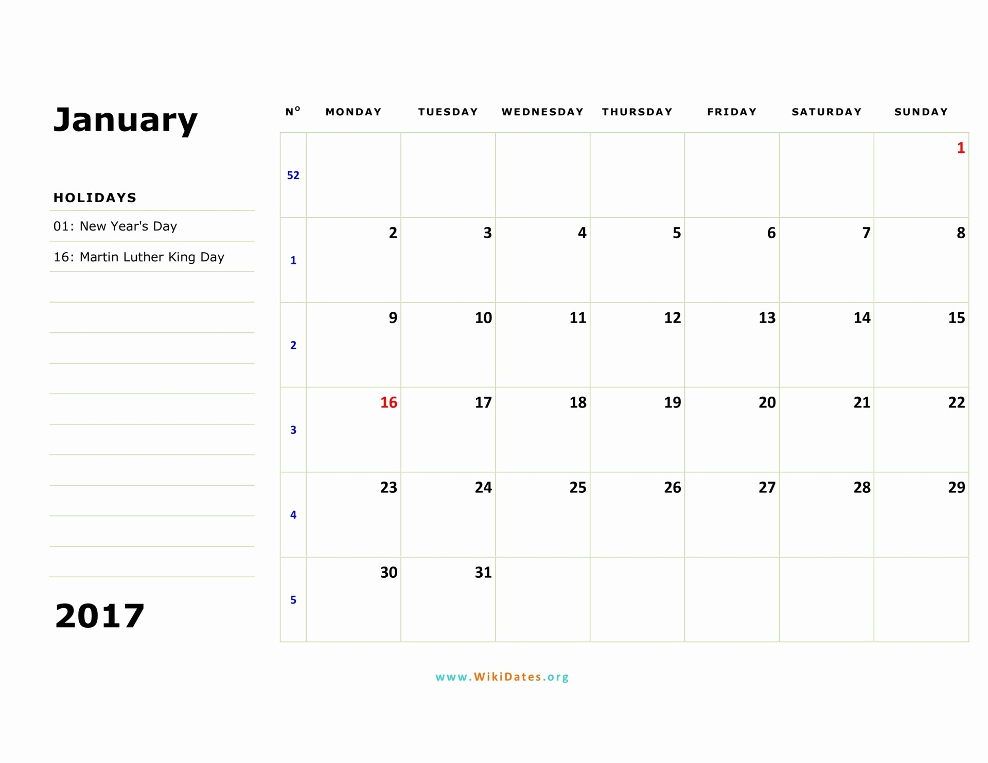 Monthly Calendar 2017 Printable Free Unique 2017 Calendar