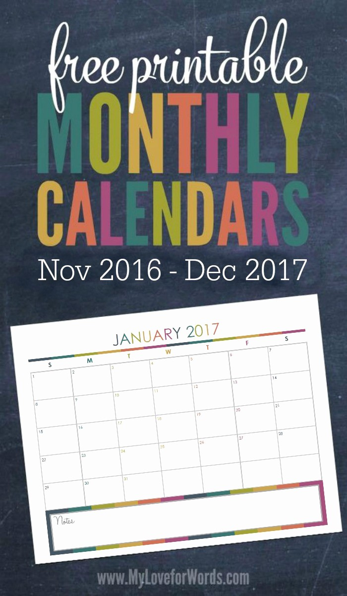 Monthly Calendar 2017 Printable Free Unique 2017 Monthly Calendar Free Printables for Your Most