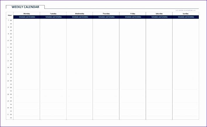 Monthly Calendar with Time Slots Beautiful 11 Vacation Template Excel Exceltemplates Exceltemplates