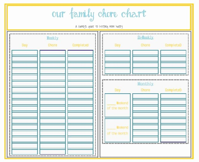 Monthly Chore Chart for Family Beautiful Printable Chore Chart and organizer