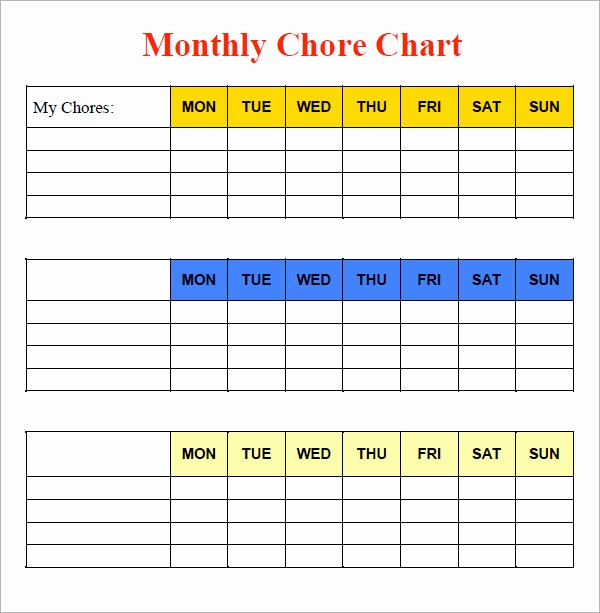 Monthly Chore Chart for Family Best Of 10 Sample Chore Chart Templates