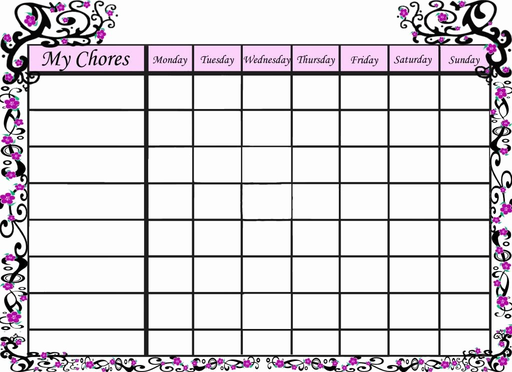 Monthly Chore Chart for Family Fresh Free Printable Sakura Chore Chart for Your Little Girl