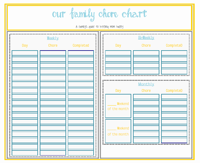 Monthly Chore Chart for Family Luxury 7 Best Of Family Chore Chart Home Family Weekly