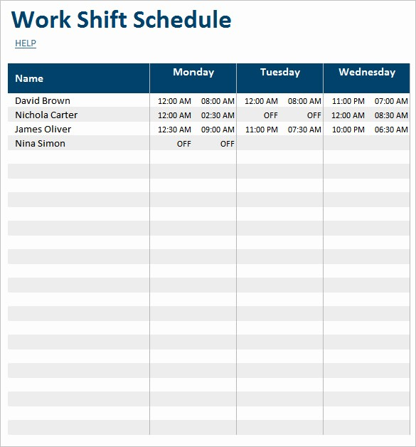 Monthly Employee Shift Schedule Template Elegant 55 Schedule Templates & Samples Word Excel Pdf