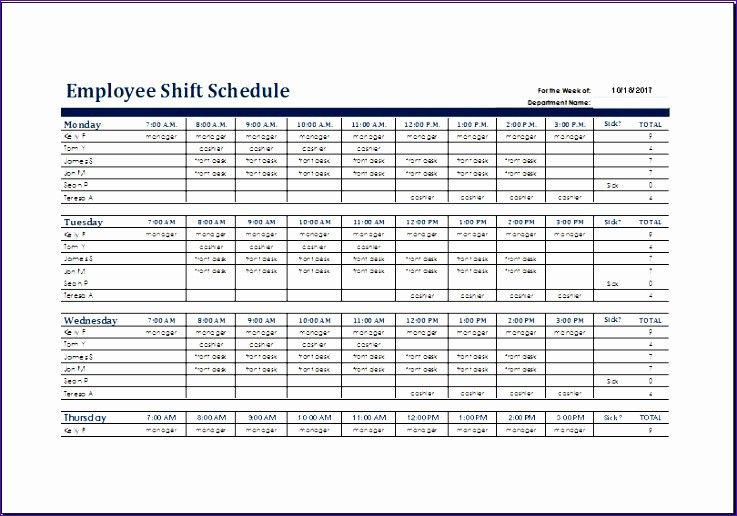 Monthly Employee Shift Schedule Template Fresh 6 Weekly Time Planner Exceltemplates Exceltemplates