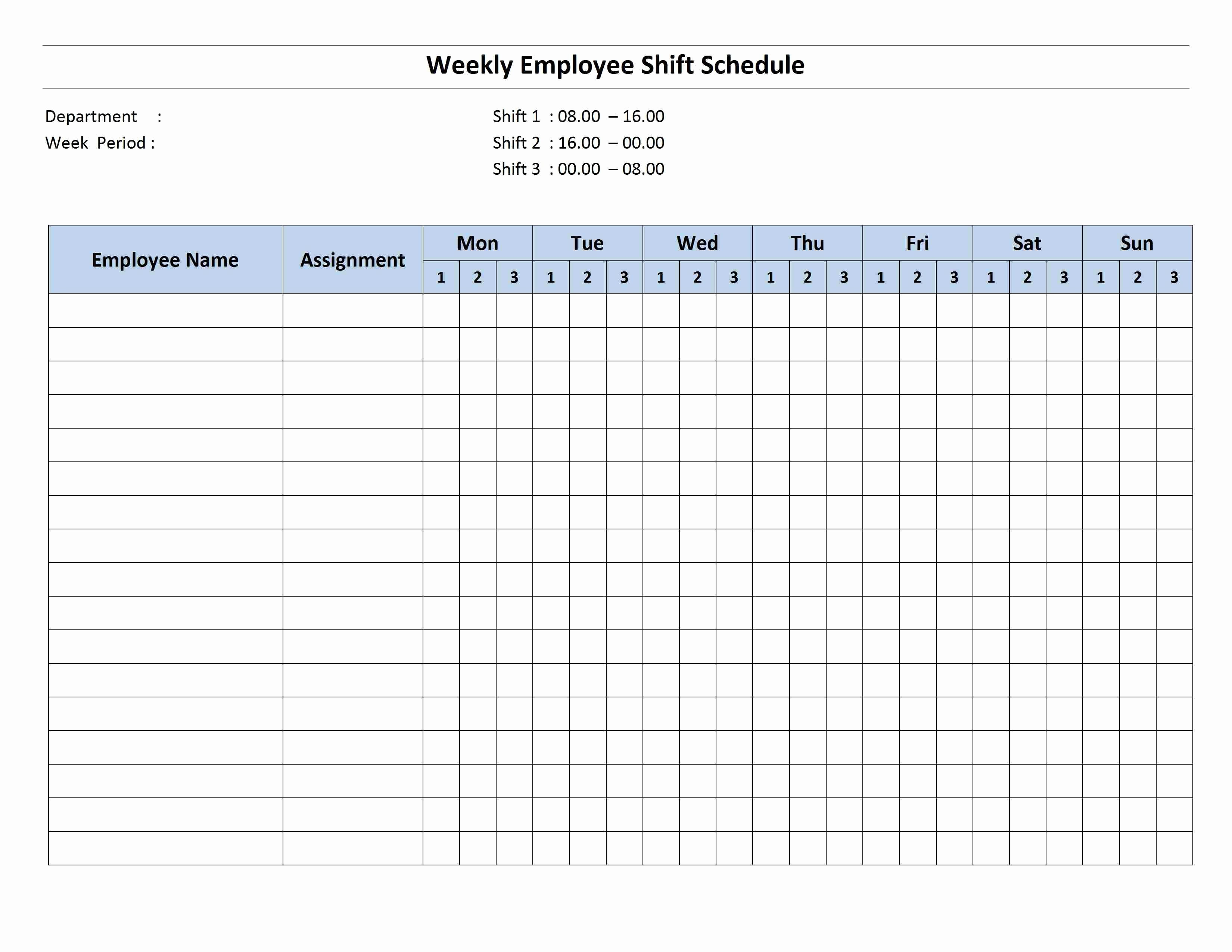 Monthly Employee Shift Schedule Template Luxury Free Monthly Work Schedule Template