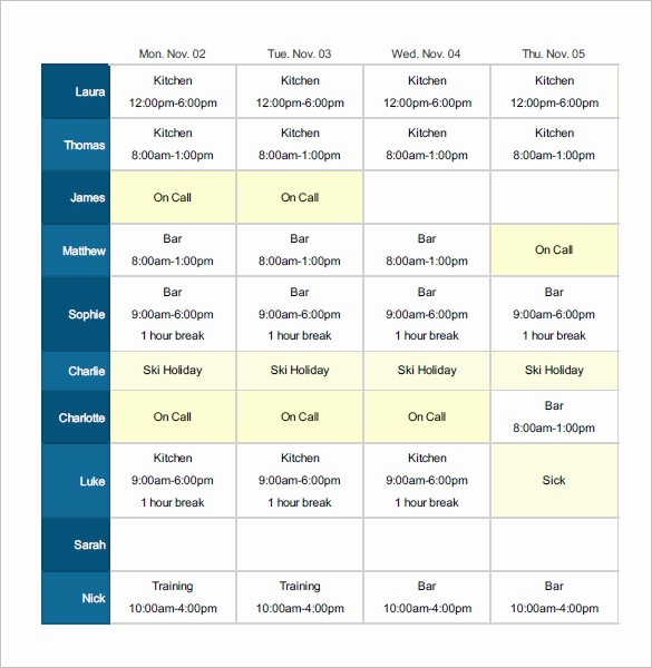 Monthly Employee Shift Schedule Template Unique Employee Shift Schedule Template 12 Free Word Excel