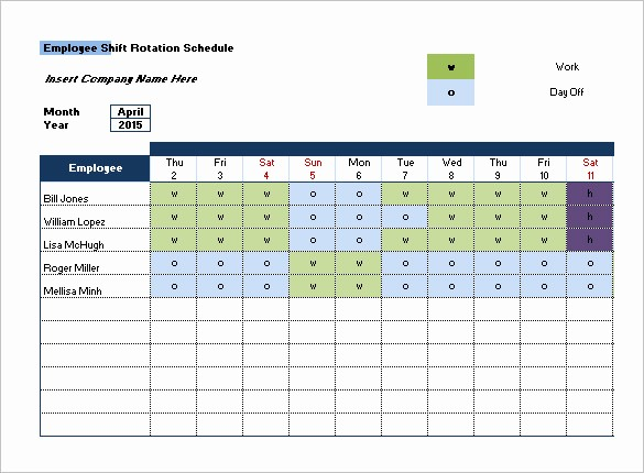 Monthly Employee Shift Schedule Template Unique Shift Schedule Templates 11 Free Sample Example format