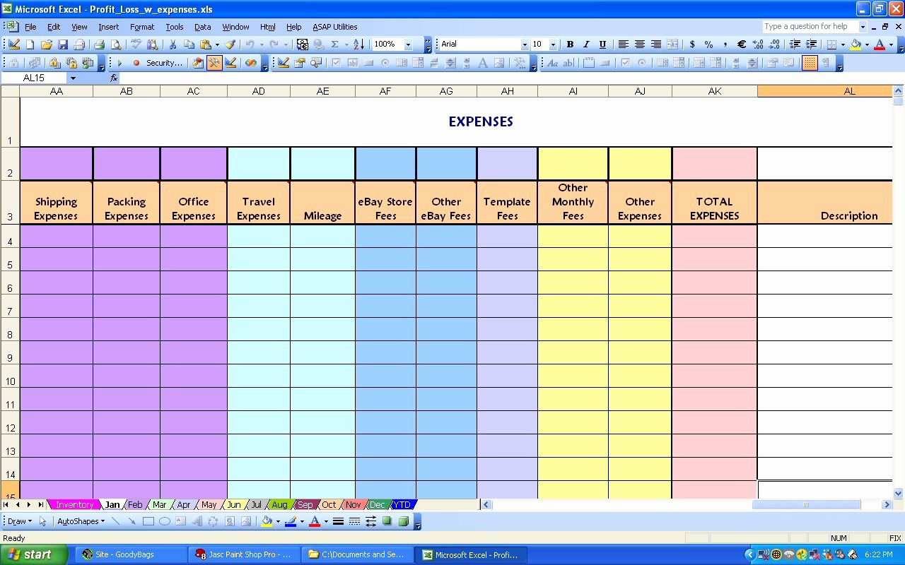 Monthly Expense Sheet Excel Template Unique Ebay Profit & Loss with Monthly Expense Spreadsheet