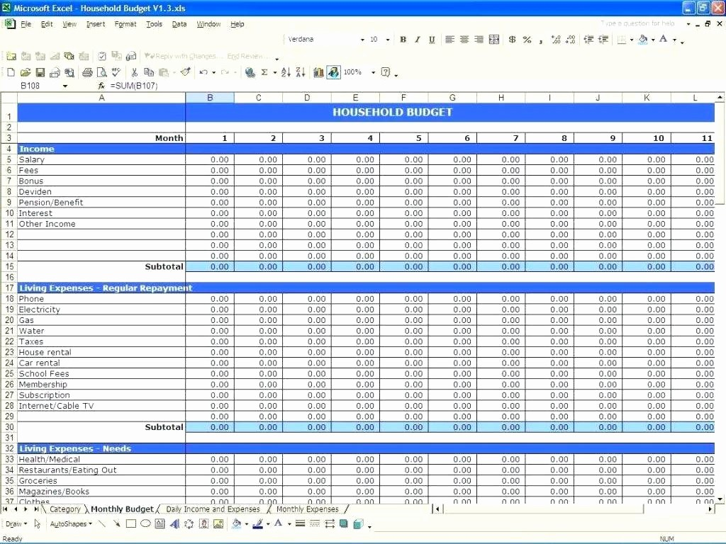 Monthly Expenses Spreadsheet Template Excel Luxury Template Expenses Spreadsheet Template Excel