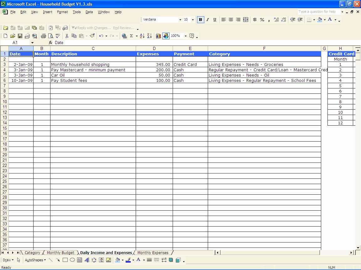 Monthly Expenses Spreadsheet Template Excel New Household Bud