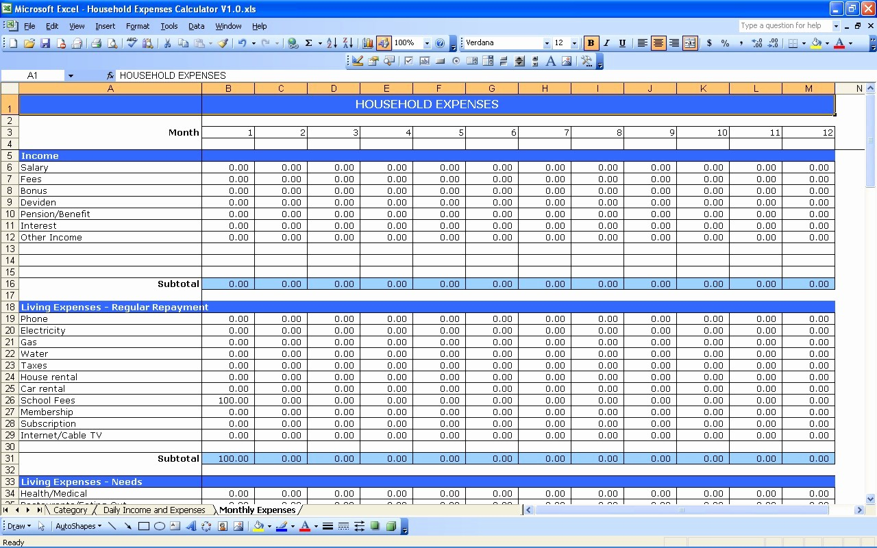 Monthly Expenses Spreadsheet Template Excel Unique Household Expenses