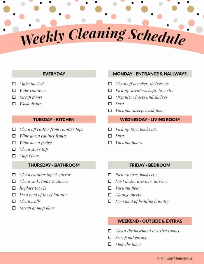 Monthly House Cleaning Schedule Template Beautiful Weeky Cleaning Schedule Free Printable