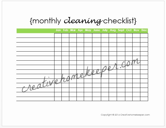 Monthly House Cleaning Schedule Template Best Of Monthly Cleaning Checklist Free Printable Creative