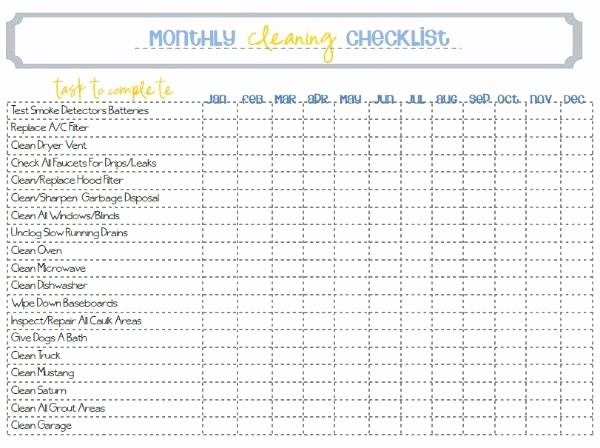 Monthly House Cleaning Schedule Template Fresh Monthly Cleaning Printable All On Paper