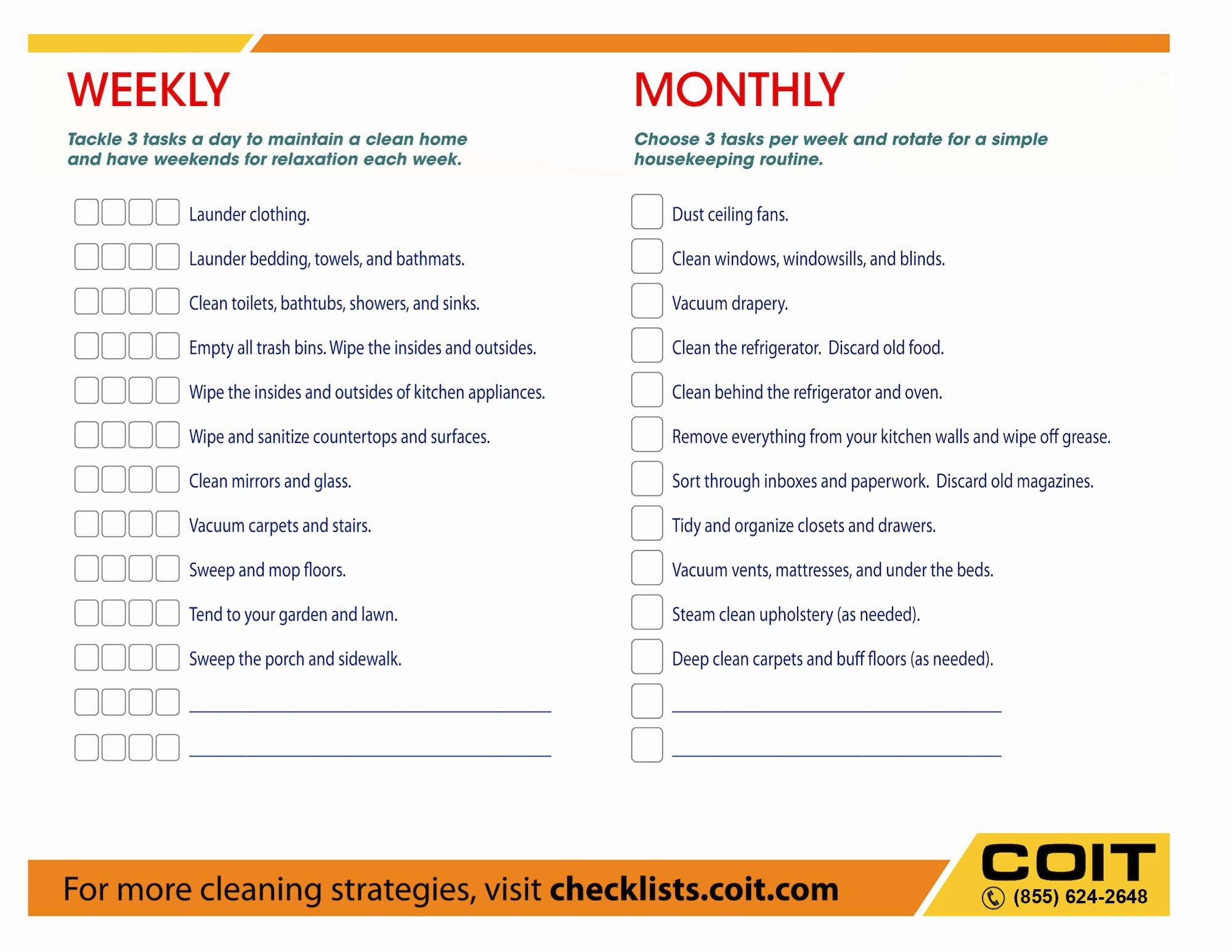 Monthly House Cleaning Schedule Template Inspirational Weekly and Monthly House Cleaning Checklist