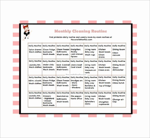 Monthly House Cleaning Schedule Template Luxury Cleaning List Template – 10 Free Sample Example format
