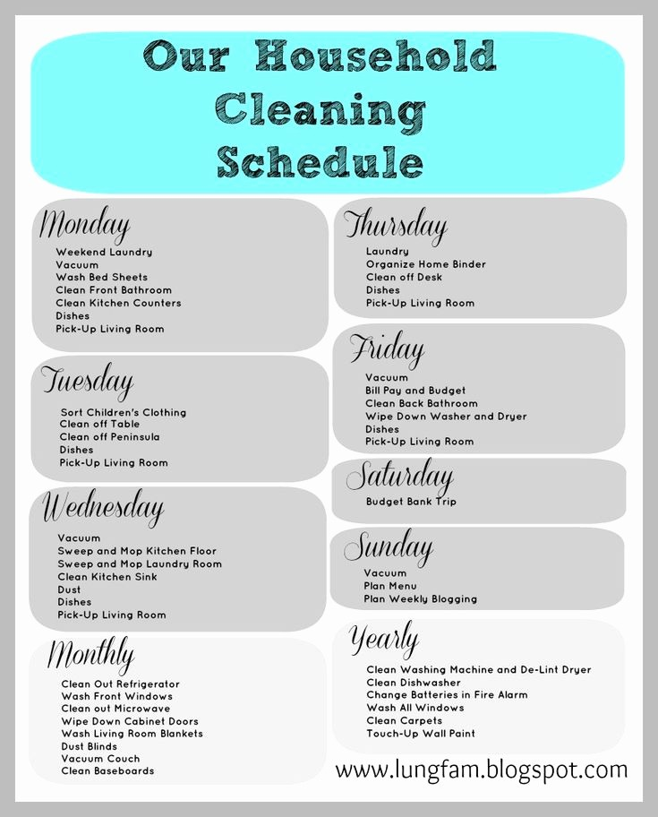 Monthly House Cleaning Schedule Template New Cleaning Schedule for Large Home