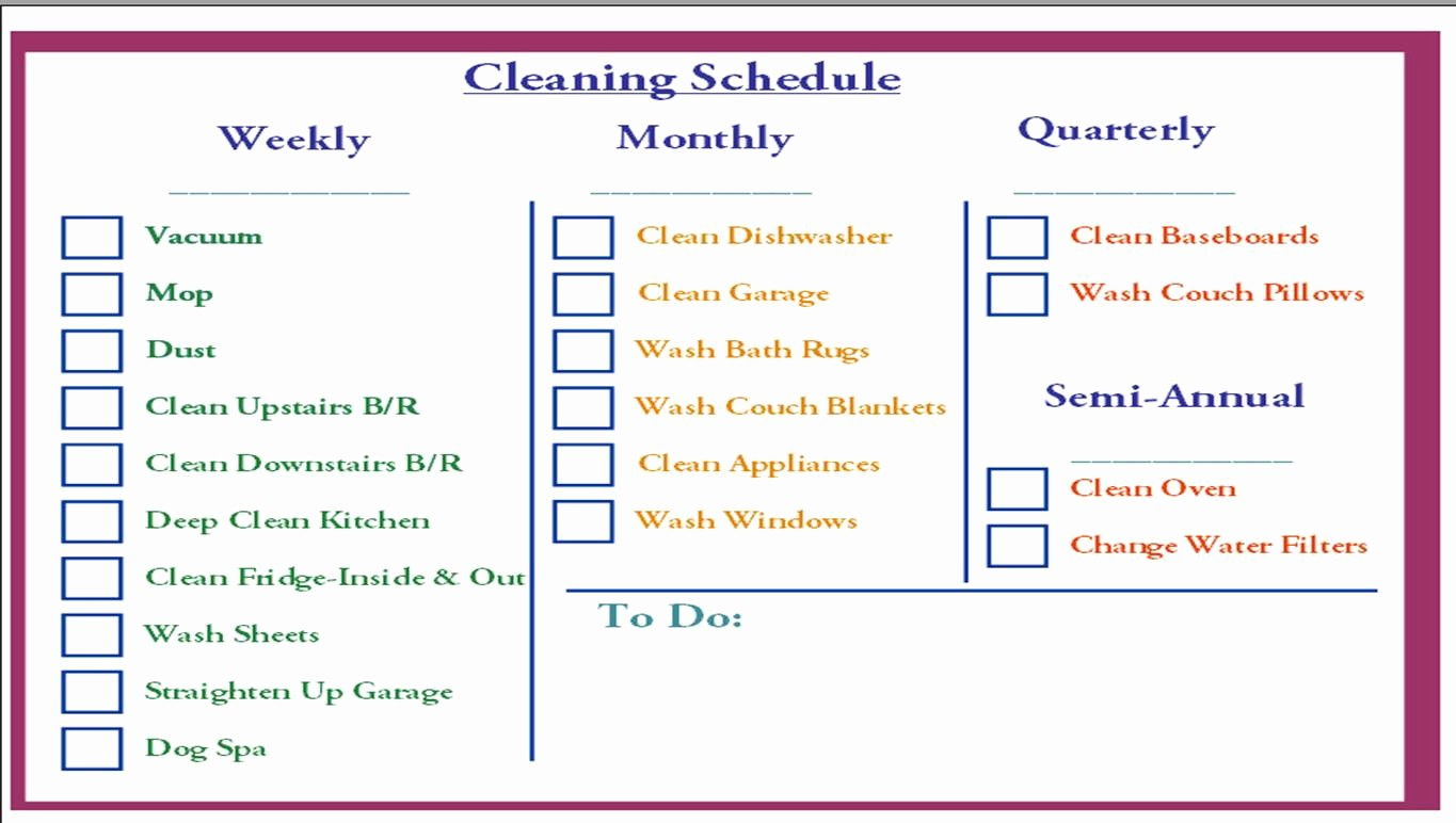 Monthly House Cleaning Schedule Template New Schedule