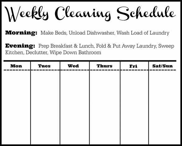Monthly House Cleaning Schedule Template Unique Cleaning Schedule Template 12 Free Sample Example