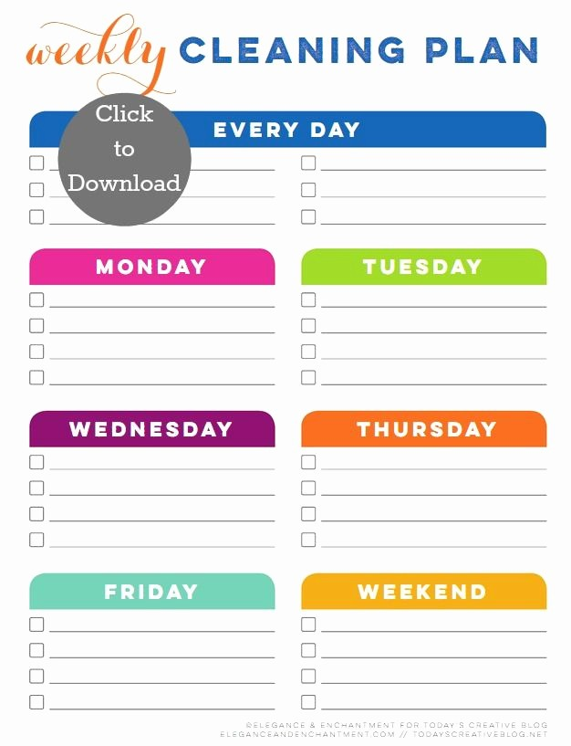 Monthly House Cleaning Schedule Template Unique Weekly Cleaning Schedule Printable
