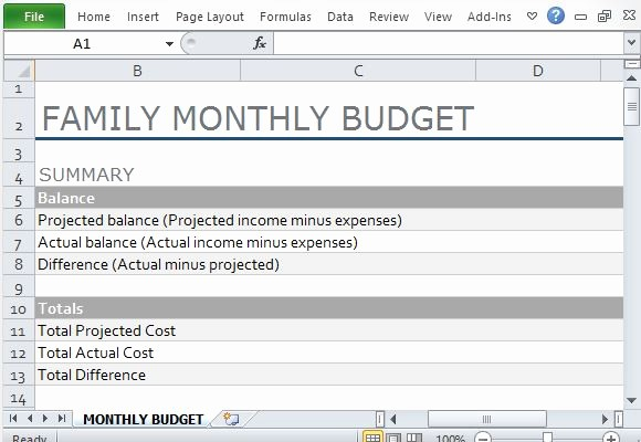 Monthly Household Budget Template Excel Awesome Monthly Family Bud Template for Excel