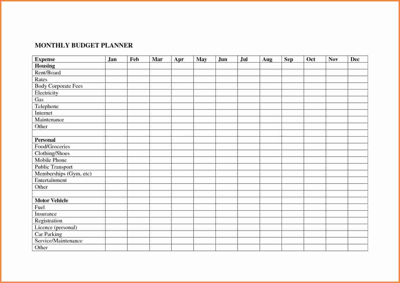 Monthly Household Budget Template Excel Beautiful 10 Monthly Bud Planner Spreadsheet