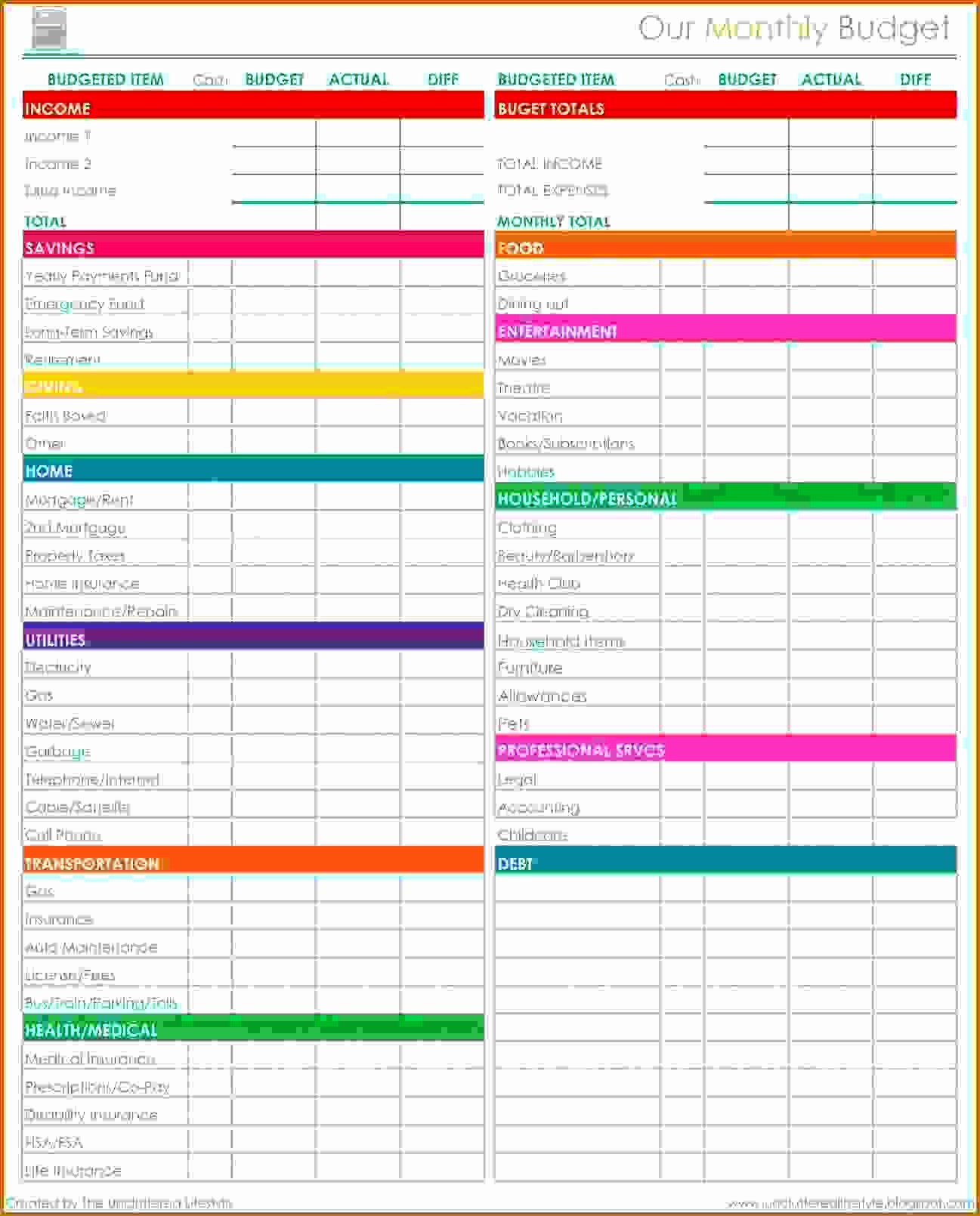 Monthly Household Budget Template Excel Elegant 11 Monthly Bud Spreadsheet Free