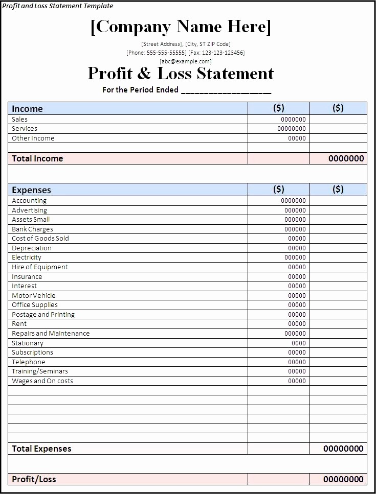 Monthly P&l Template Luxury 14 Awesome Blank Profit and Loss Statement