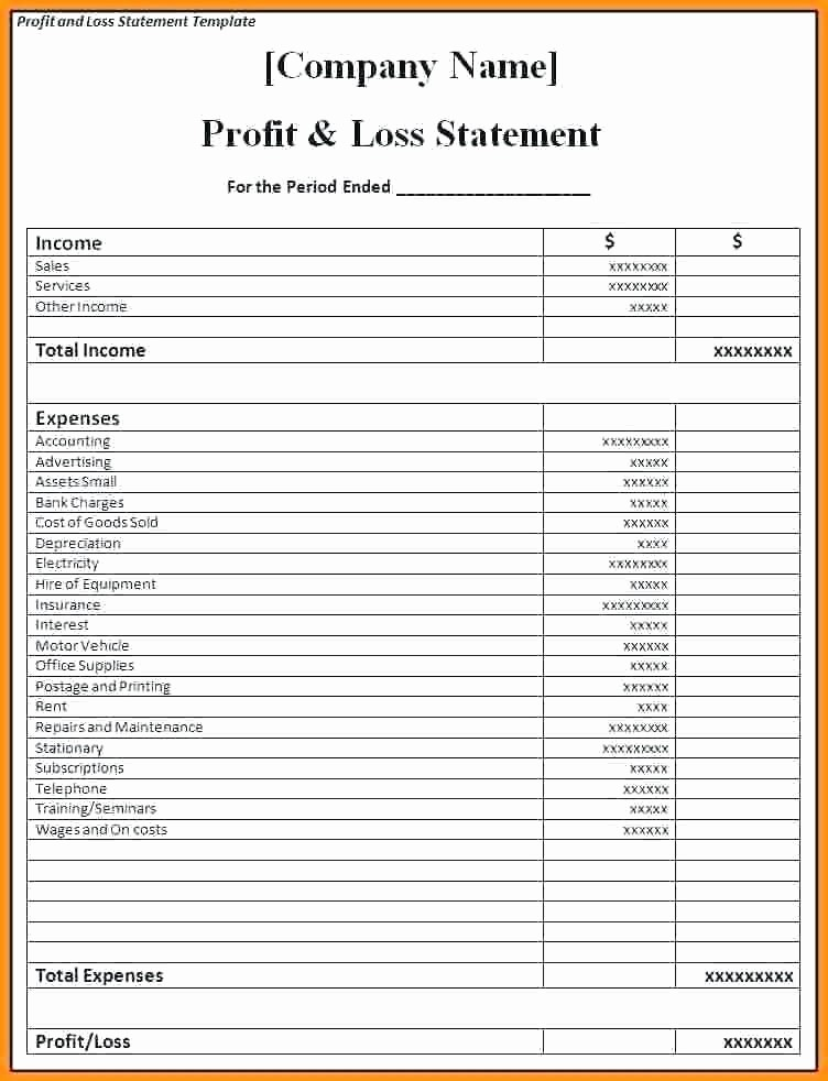 Monthly P&l Template New Simple P L Template Simple P L format Free