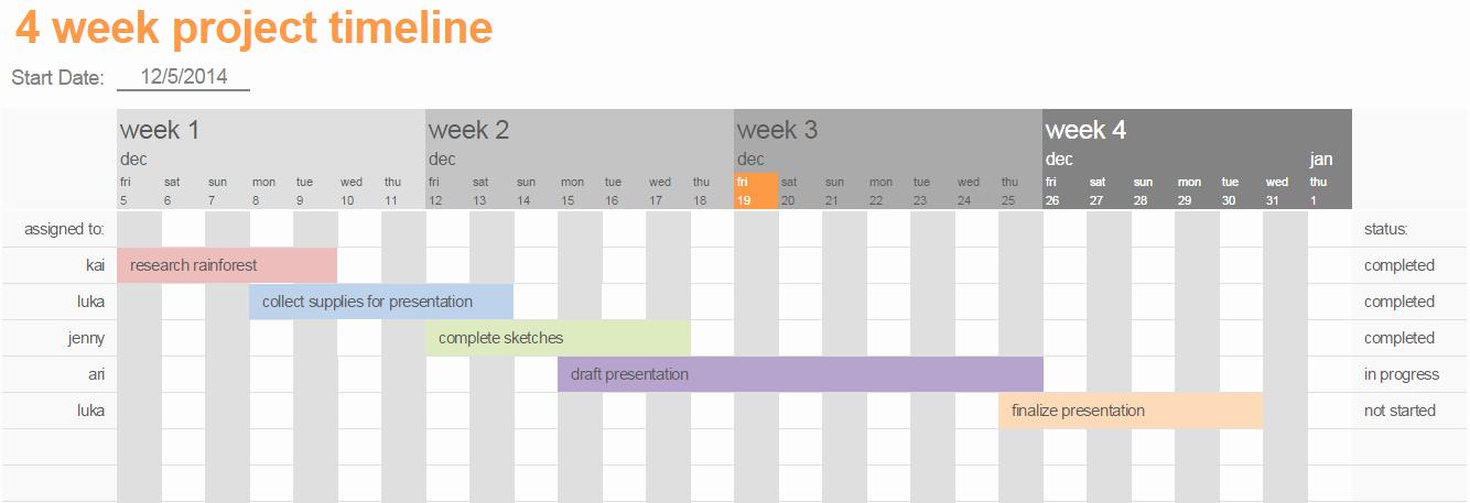 Monthly Project Timeline Template Excel Inspirational Excel Calendar Timeline
