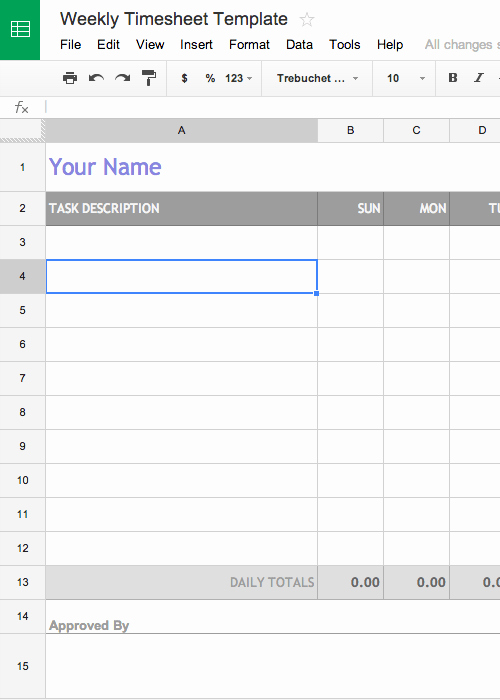 Monthly Timesheet Template Google Docs Awesome Free Weekly Timesheet Template Google Docs