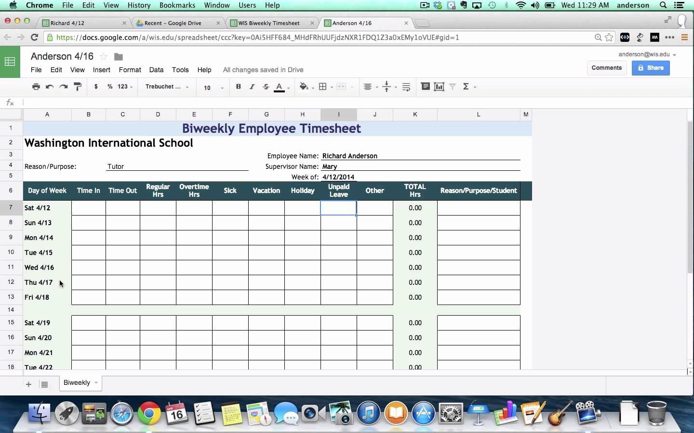 Monthly Timesheet Template Google Docs Elegant Google Spreadsheet Templates Timesheet Google Spreadshee
