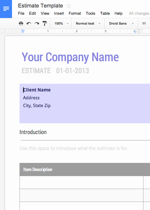 Monthly Timesheet Template Google Docs New Free Work Estimate Template for Google Docs