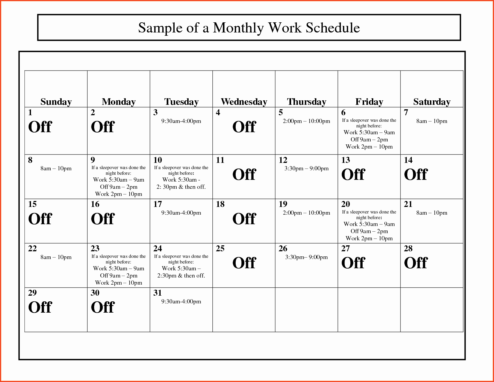 Monthly Work Schedule Template Excel Awesome Monthly Work Schedule Template