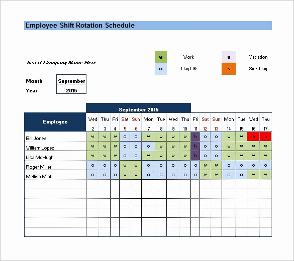 Monthly Work Schedule Template Excel Awesome Rotating Schedule Template