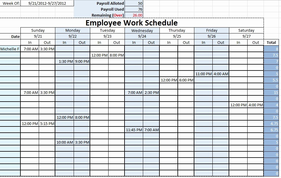 weekly employee schedule template excel 1124