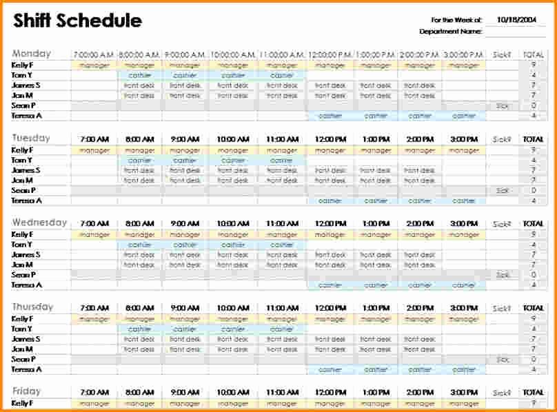 Monthly Work Schedule Template Excel Luxury 6 Excel Employee Schedule Template